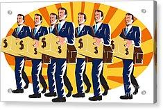 Businessman Banker Worker Carry Money Box Retro Acrylic Print by Aloysius Patrimonio