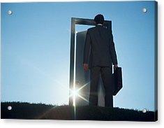 Businessman Entering Door Outdoors Acrylic Print by Comstock