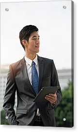 Businessman Holding Digital Tablet Acrylic Print by Eternity In An Instant