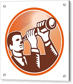 Businessman Holding Looking Telescope Woodcut Acrylic Print by Aloysius Patrimonio