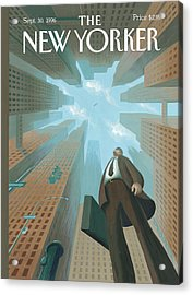 Businessman Looks Up At Tall Skyscrapers Acrylic Print