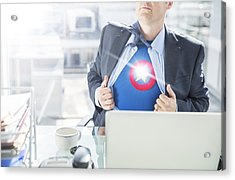 Businessman Opening Shirt To Reveal Superhero Costume Acrylic Print by Robert Daly