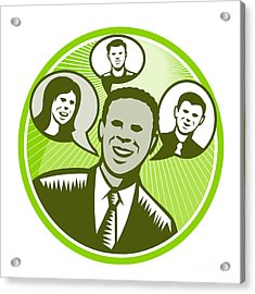 Businessman People Smiling Speech Bubble Acrylic Print by Aloysius Patrimonio