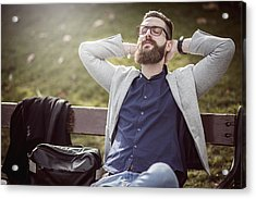 Businessman Relaxing On The Bench After Work Acrylic Print by DaniloAndjus