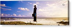 Businessman Standing On A Ladder And Acrylic Print