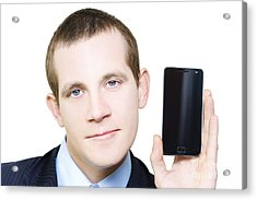 Businessman With Blank Screen Smartphone In Hand Acrylic Print by Jorgo Photography - Wall Art Gallery
