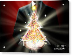 Businessman With Christmas Acrylic Print