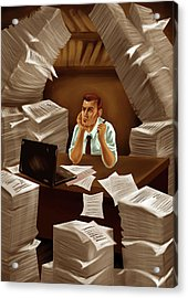 Businessman With Heap Of Papers Acrylic Print