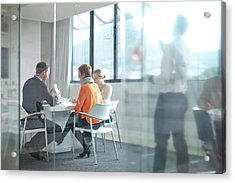 Businesspeople Having Meeting At Acrylic Print by Zero Creatives