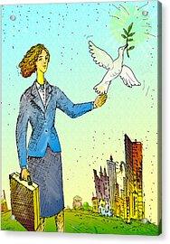 Businesswoman & Dove Acrylic Print by Vasily Kafanov