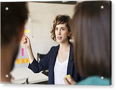 Businesswoman Giving Presentation Acrylic Print by Morsa Images