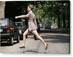 Businesswoman Running Across Road, Side View Acrylic Print by David De Lossy