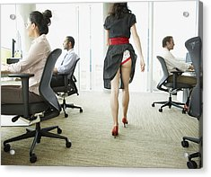 Businesswoman With Skirt Caught In Underwear Acrylic Print by Paul Bradbury