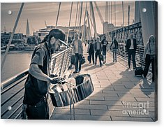 Busker Playing Steel Band Drum Steelpan In London Acrylic Print
