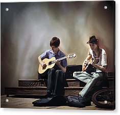 Buskers Acrylic Print by Pennie  McCracken
