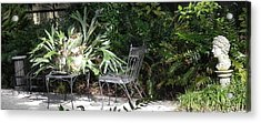 Bust In A Garden With Staghorn Fern Acrylic Print by Patricia Greer