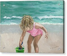 Busy Beach Girl Acrylic Print