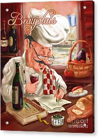 Busy Chef With Beaujolais Acrylic Print