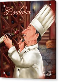 Busy Chef With Bordeaux Acrylic Print by Shari Warren