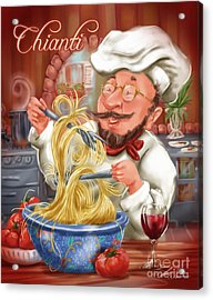Busy Chef With Chianti Acrylic Print