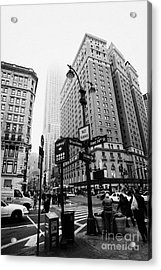 Busy Traffic Junction Of West 34th Street St And Broadway With Empire State Building Shrouded Mist Acrylic Print by Joe Fox