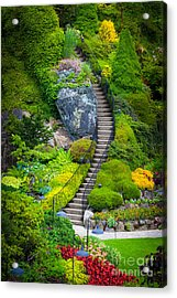 Butchart Gardens Stairs Acrylic Print by Inge Johnsson