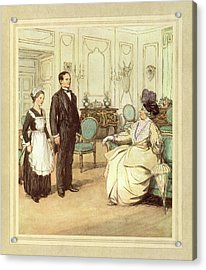 Butler And Maid Acrylic Print by British Library
