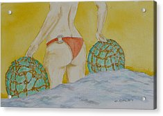 Butt And  Bouys Acrylic Print by Charles  Daley