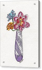 Butter Knife Vase With Flowers Acrylic Print by Julie Maas