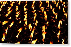 Butter Lamps In Bodhgaya Acrylic Print by Greg Holden