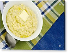 Cheese Grits With A Pat Of Butter Acrylic Print by Vizual Studio