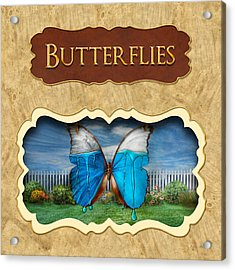 Butterflies Button Acrylic Print by Mike Savad