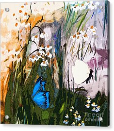 Butterflies In Chamomile Acrylic Print