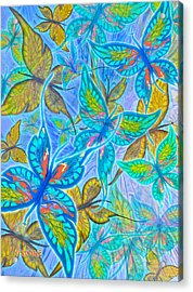 Acrylic Print featuring the mixed media Butterflies On Blue by Teresa Ascone