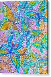 Acrylic Print featuring the mixed media Butterflies On Lilac by Teresa Ascone