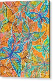 Acrylic Print featuring the painting Butterflies On Tangerine by Teresa Ascone