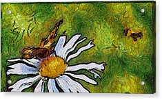 Acrylic Print featuring the painting Butterfly And Flower by Georgi Dimitrov