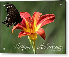 Butterfly And Lily Holiday Card Acrylic Print