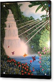 Acrylic Print featuring the painting Butterfly Falls by Michael Rucker