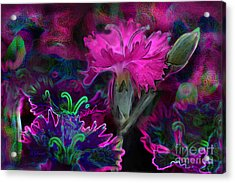 Acrylic Print featuring the digital art Butterfly Garden 08 - Carnations by E B Schmidt