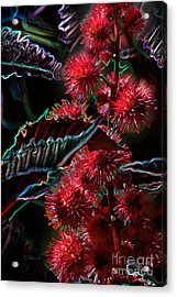 Acrylic Print featuring the digital art Butterfly Garden 15 - Flowering Castor Oil by E B Schmidt