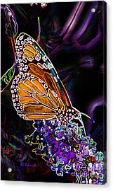 Acrylic Print featuring the digital art Butterfly Garden 24 - Monarch by E B Schmidt