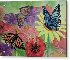 Acrylic Print featuring the painting Butterfly Garden by Ellen Levinson