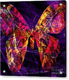 Butterfly In Abstract Dsc2977 Square Acrylic Print