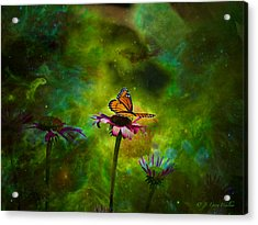 Acrylic Print featuring the digital art Butterfly In An Ethereal World by J Larry Walker