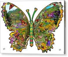 Butterfly Meadow Green Acrylic Print by Alixandra Mullins