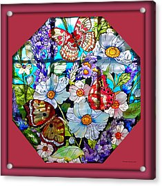 Butterfly Octagon Stained Glass Window Acrylic Print by Thomas Woolworth
