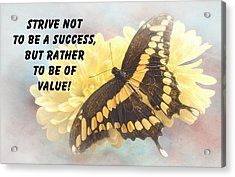Butterfly Quote Acrylic Print by Rudy Umans