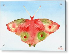 Butterfly Red And Green Watercolor Art Print Acrylic Print