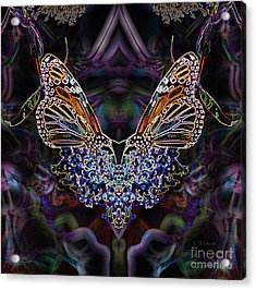 Acrylic Print featuring the digital art Butterfly Reflections 01 - Monarch by E B Schmidt